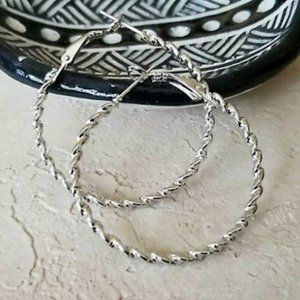 Modern Twisted Silver Rope Hoop Earrings 40mm 1.6""